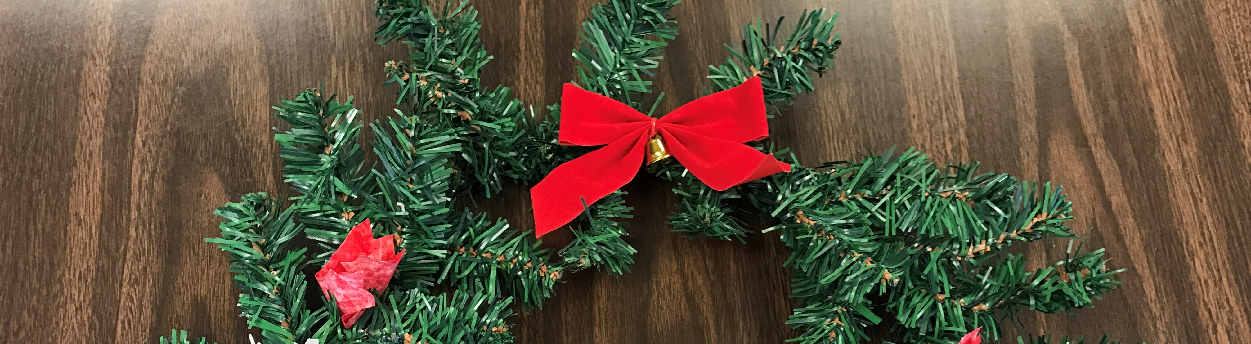 Christmas fabric wreath with bow
