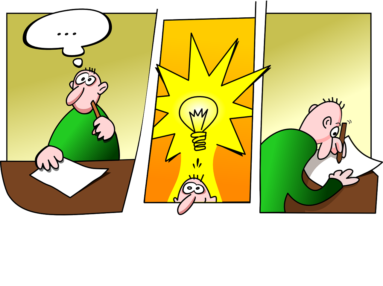 cartoon strip of an inventor and coming up with an idea