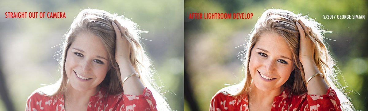 Two photos of girl facing forward smiling: left image is not as focused; right image is improved and more focused